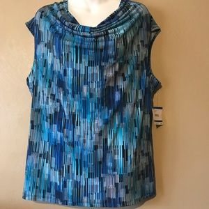 Kasper blue top size XL, droop neck polyester